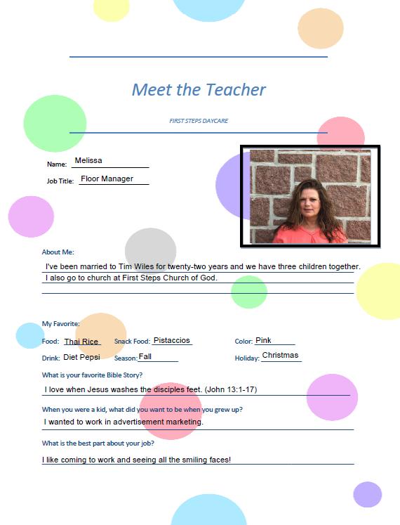 Meet the Teacher Melissa
