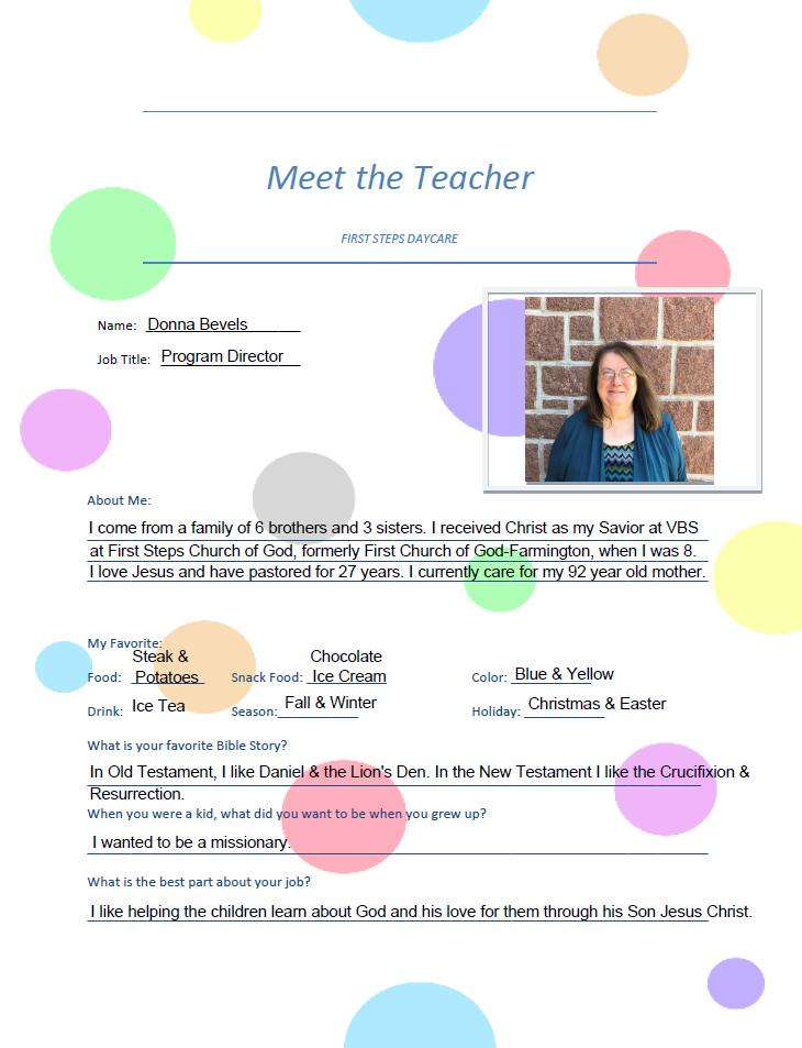 Donna Bevels Meet the Teacher