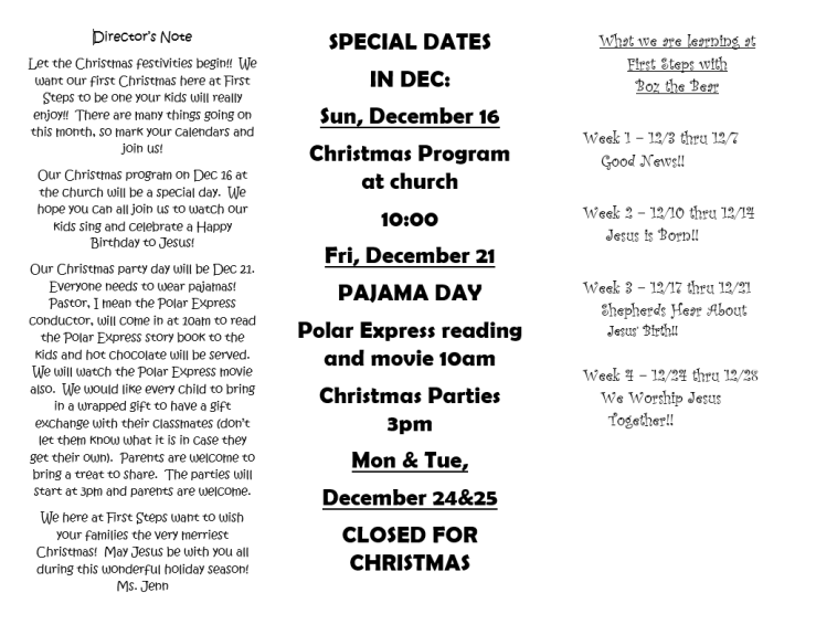 December Newsletter Pg 1